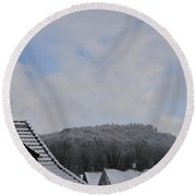 Round Beach Towel featuring the photograph Attic Windows Open To The Sky by Felicia Tica