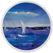 Round Beach Towel featuring the painting Au Gre Du Vent by Elise Palmigiani