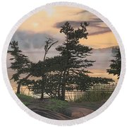 Round Beach Towel featuring the painting Auburn Evening by Kenneth M Kirsch