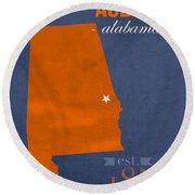 Auburn University Tigers Auburn Alabama College Town State Map Poster Series No 016 Round Beach Towel