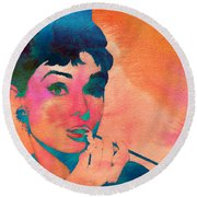 Round Beach Towel featuring the painting Audrey Hepburn 1 by Brian Reaves