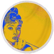 Round Beach Towel featuring the photograph Audrey Hepburn 20130330v2 by Wingsdomain Art and Photography