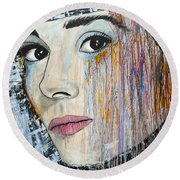 Audrey Hepburn-abstract Round Beach Towel