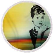 Audrey Hepburn Art Round Beach Towel