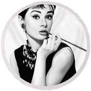 Audrey Hepburn Artwork Round Beach Towel by Sheraz A