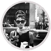 Audrey Hepburn Breakfast At Tiffany's Round Beach Towel by Georgia Fowler