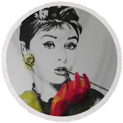 Audrey Hepburn Round Beach Towel by Chrisann Ellis