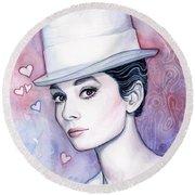 Audrey Hepburn Fashion Watercolor Round Beach Towel