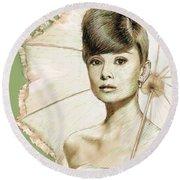 Audrey Hepburn Portrait Round Beach Towel