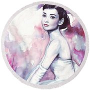 Audrey Hepburn Purple Watercolor Portrait Round Beach Towel by Olga Shvartsur