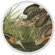 Audubon Woodcock Round Beach Towel