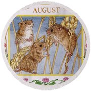 August Wc On Paper Round Beach Towel by Catherine Bradbury