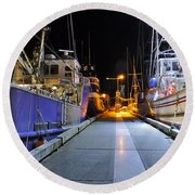 Round Beach Towel featuring the photograph Auke Bay By Night by Cathy Mahnke