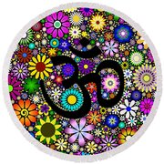 Aum Flowers Round Beach Towel