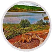 Aunt Betty Pond In Acadia National Park-maine  Round Beach Towel