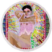 Aura Art Effect Of Love In Heart Showering Sparkle Colors Navin Joshi Rights Managed Images Graphic  Round Beach Towel