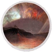 Aurora Borealis By Frederick Edwin Church Round Beach Towel