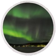 Aurora Borealis Round Beach Towel by IPics Photography