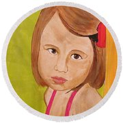 Round Beach Towel featuring the painting Aurora by Michelle Dallocchio
