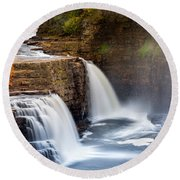 Ausable Chasm Waterfall Round Beach Towel