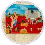 Austin - Camping Mural Round Beach Towel