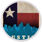 Austin City Skyline State Flag Of Texas Art Poster Series 010 Round Beach Towel