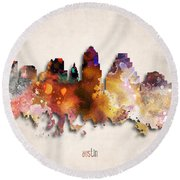 Austin Painted City Skyline Round Beach Towel by World Art Prints And Designs