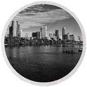 Austin Skyline Bw Round Beach Towel