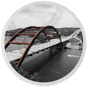 Austin Texas Pennybacker 360 Bridge Color Splash Black And White Round Beach Towel by Shawn O'Brien