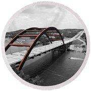 Round Beach Towel featuring the digital art Austin Texas Pennybacker 360 Bridge Color Splash Black And White by Shawn O'Brien