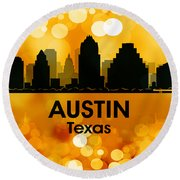 Austin Tx 3 Round Beach Towel by Angelina Vick