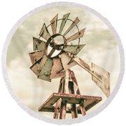 Australian Aermotor Windmill Round Beach Towel