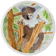 Koala In A Gum Tree  Round Beach Towel