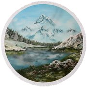 Austrian Lake Round Beach Towel by Jean Walker