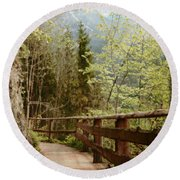 Austrian Woodland Trail And Mountain View Round Beach Towel