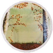 Autum On The Ema River  2 Round Beach Towel