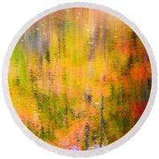 Autumn Abstract Round Beach Towel by Eleanor Abramson