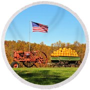 Round Beach Towel featuring the photograph Autumn And Old Glory by Kelly Nowak