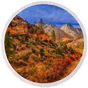 Autumn Arroyo Round Beach Towel by Greg Norrell