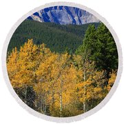 Autumn Aspens And Longs Peak Round Beach Towel