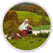 Autumn At Bogie Mountain Dairy Farm Round Beach Towel