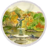 Autumn At Central Park Ny Round Beach Towel by Melly Terpening