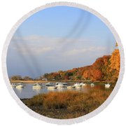 Autumn At Cold Spring Harbor Round Beach Towel