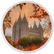 Autumn At Temple Square Round Beach Towel by Dustin  LeFevre