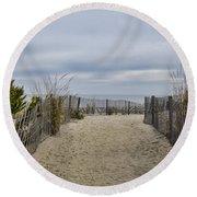 Autumn At The Beach Round Beach Towel