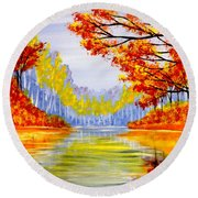 Round Beach Towel featuring the painting Autumn At The Lake by Darren Robinson