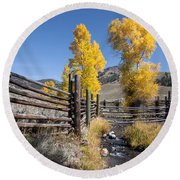 Round Beach Towel featuring the photograph Autumn At The Lamar Buffalo Ranch by Jack Bell