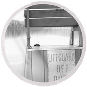 Autumn At White Lake Bw Round Beach Towel