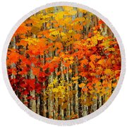 Autumn Banners Round Beach Towel