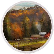 Autumn - Barn - The End Of A Season Round Beach Towel